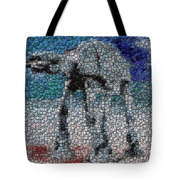 At-at Bottle Cap Mosaic Tote Bag by Paul Van Scott
