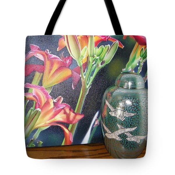 At One With Flowers And Swallows Tote Bag by Lenore Senior