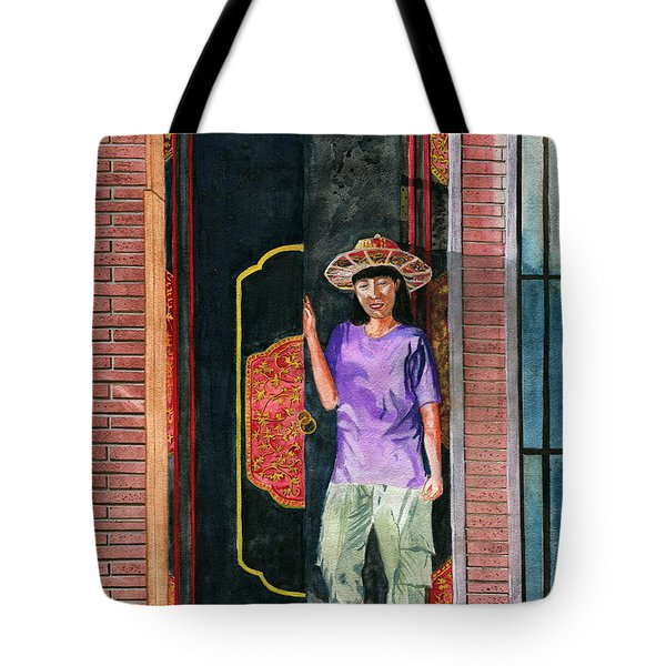 Tote Bag featuring the painting At Puri Kelapa by Melly Terpening