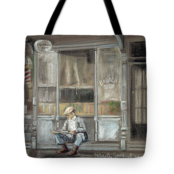At The Barber Shop Tote Bag by Marty Garland