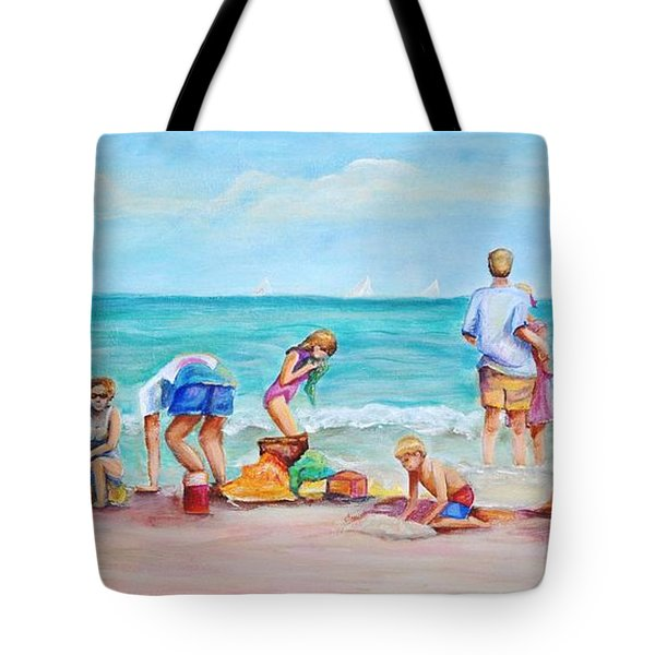 Tote Bag featuring the painting At The Beach by Patricia Piffath
