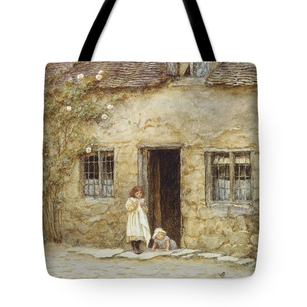 At The Cottage Door Tote Bag by Helen Allingham