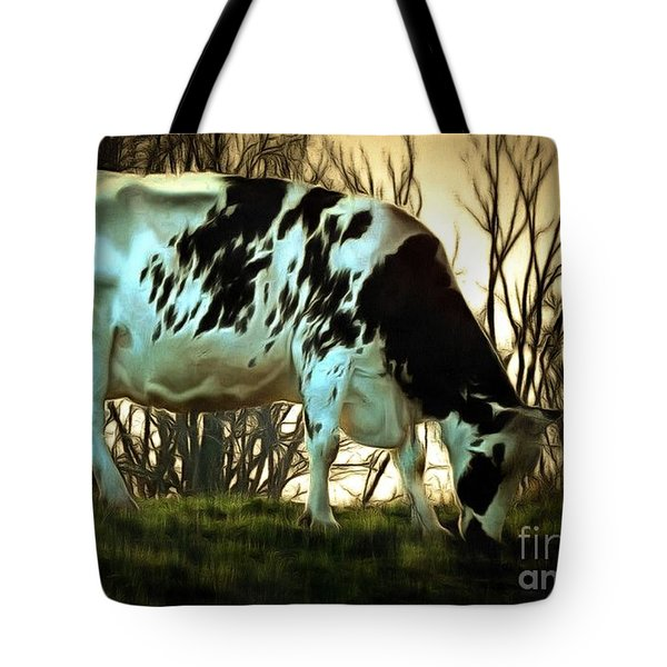 At The End Of The Day - Black And White Cow Tote Bag by Janine Riley