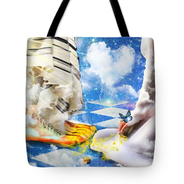 Tote Bag featuring the digital art At The Feet Of Jesus by Dolores Develde