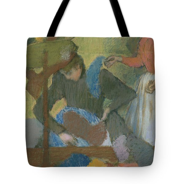 At The Hat Maker Tote Bag by Edgar Degas