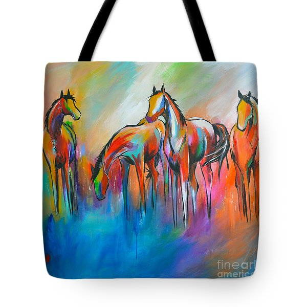 Tote Bag featuring the painting At The Pond by Cher Devereaux
