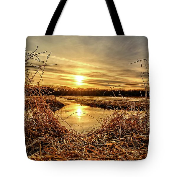 At The Rivers Edge Tote Bag by Bonfire Photography