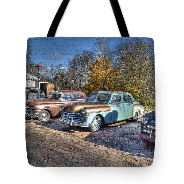 At The Service Station Tote Bag by Janice Adomeit