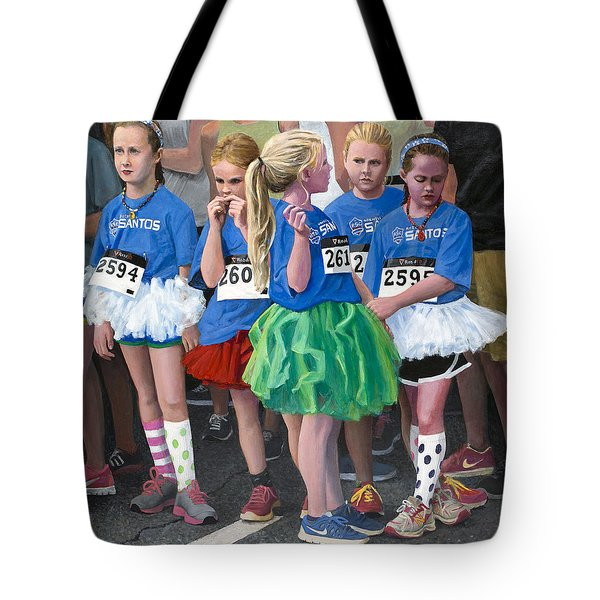 At The Start Of Their Run Tote Bag by Mark Lunde