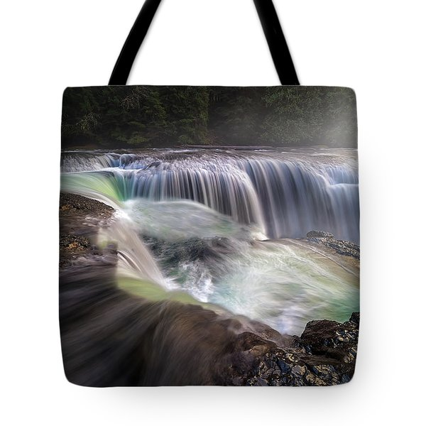 At The Top Of Lower Lewis River Falls Tote Bag