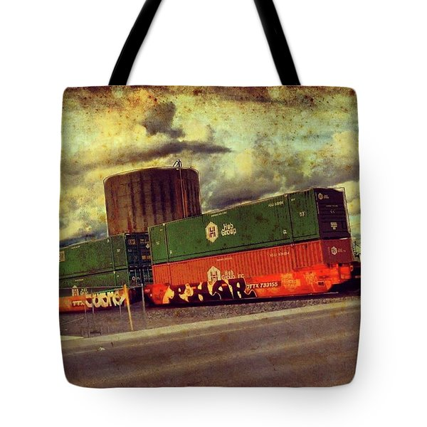 At The Train Crossing. Arizona  Tote Bag
