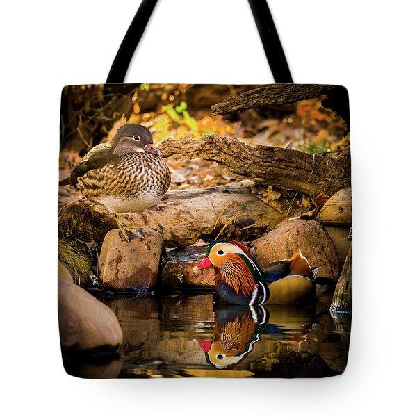 At The Waters Edge - Mandarin Ducks Tote Bag