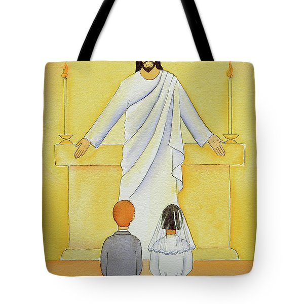 At Their First Holy Communion Children Meet Jesus In The Holy Eucharist Tote Bag