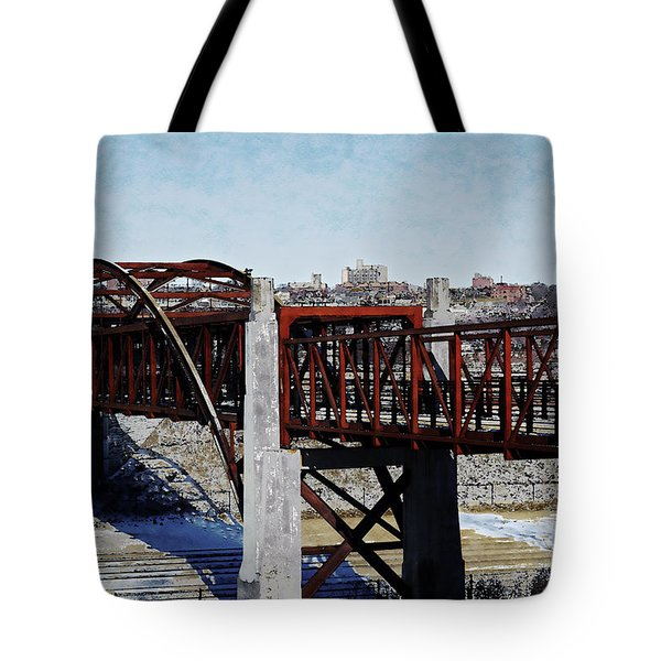 Tote Bag featuring the digital art At Three Bridges Park by David Blank