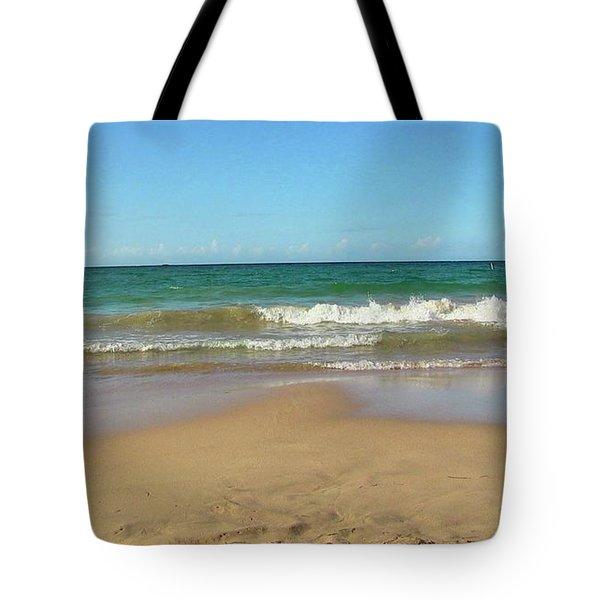 Atardecer Playa El Ultimo Trolly Tranvia Tote Bag