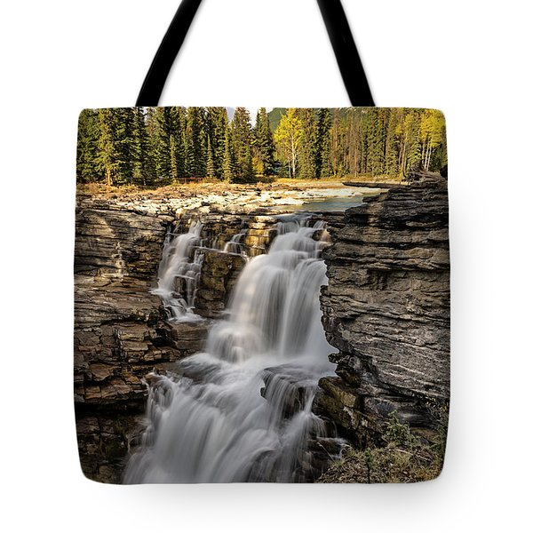Tote Bag featuring the photograph Athabasca Falls by John Gilbert