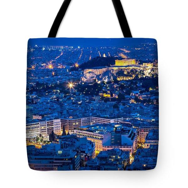 Athens Blue Hour Tote Bag