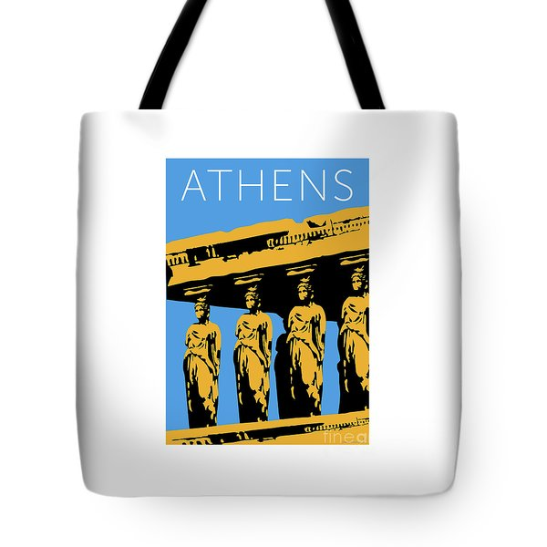 Tote Bag featuring the digital art Athens Erechtheum Blue by Sam Brennan