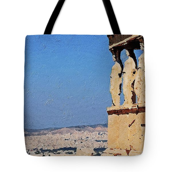 Tote Bag featuring the digital art Athens, Greece by PixBreak Art