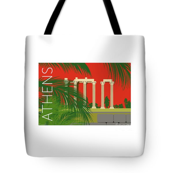Tote Bag featuring the digital art Athens Temple Of Olympian Zeus - Orange by Sam Brennan