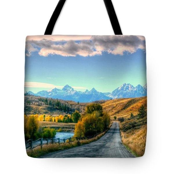 Atherton View Of Tetons Tote Bag by Charlotte Schafer