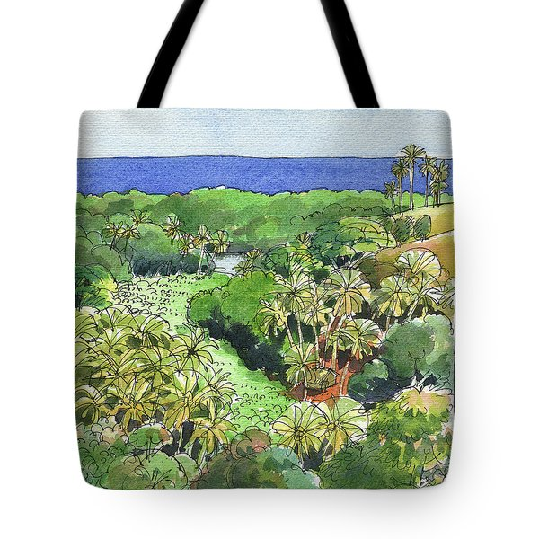 Tote Bag featuring the painting Atiu Lake View by Judith Kunzle