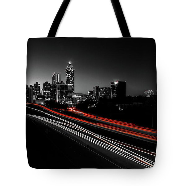 Atlanta Black And White Tote Bag
