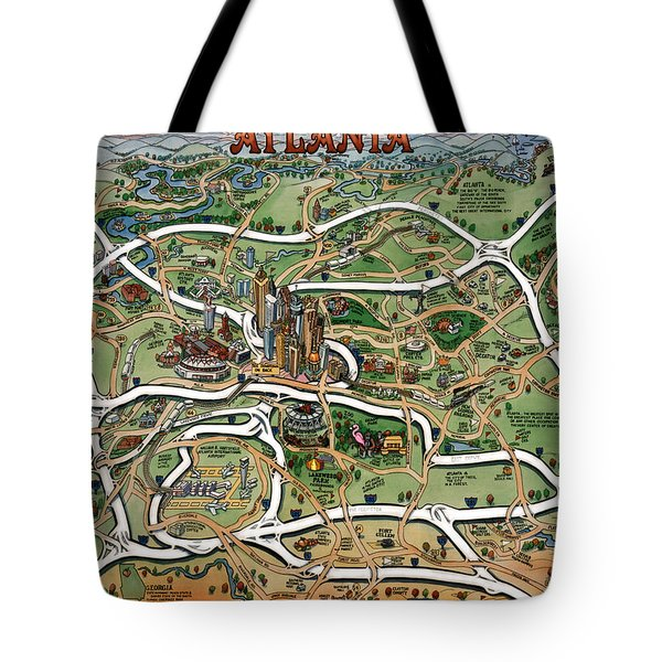 Atlanta Cartoon Map Tote Bag by Kevin Middleton