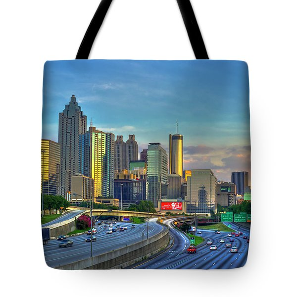 Tote Bag featuring the photograph Atlanta Coca-cola Sunset Reflections Art by Reid Callaway