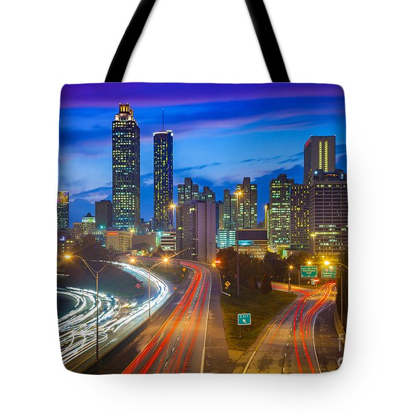 Atlanta Downtown By Night Tote Bag by Inge Johnsson