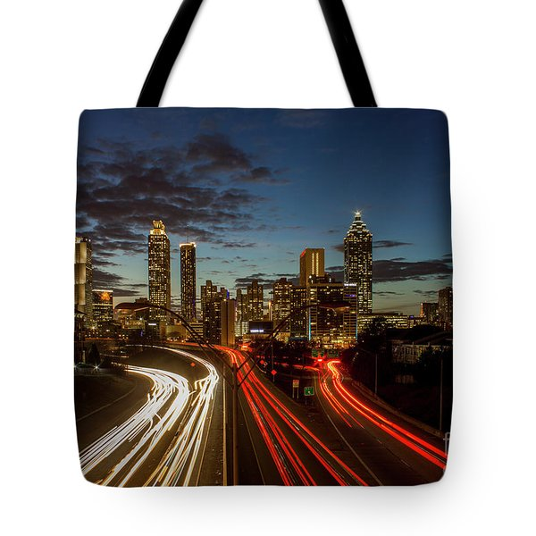 Tote Bag featuring the photograph Atlanta Downtown Infusion Atlanta Sunset Cityscapes Art by Reid Callaway