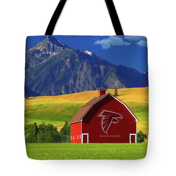 Tote Bag featuring the photograph Atlanta Falcons Barn by Movie Poster Prints