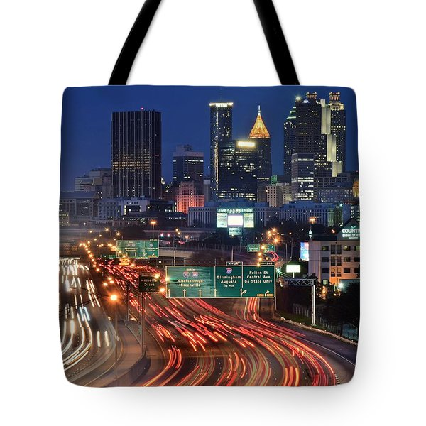 Atlanta Heavy Traffic Tote Bag by Frozen in Time Fine Art Photography