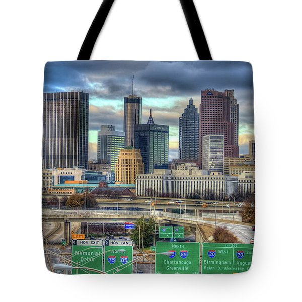 Tote Bag featuring the photograph Atlanta Moving On Skyline Cityscape Art by Reid Callaway