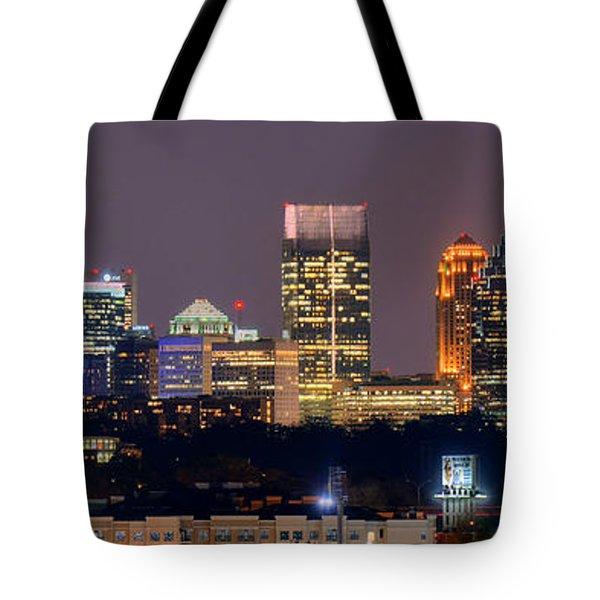 Atlanta Skyline At Night Downtown Midtown Color Panorama Tote Bag