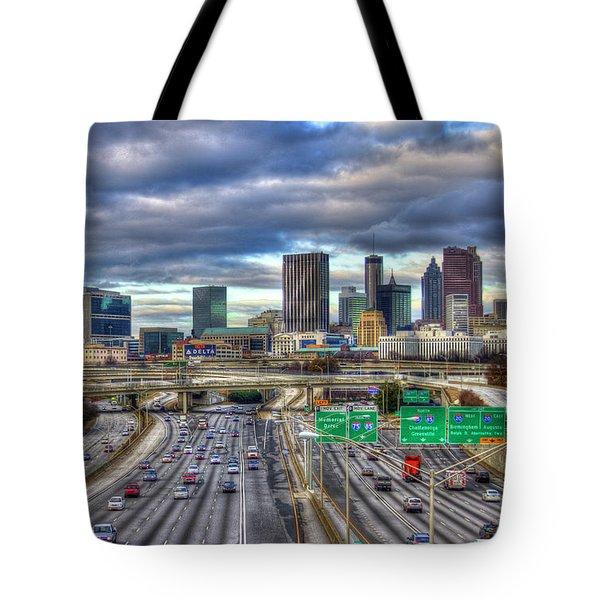 Atlanta Skyline Cityscape 3 Downtown Atlanta Art Tote Bag