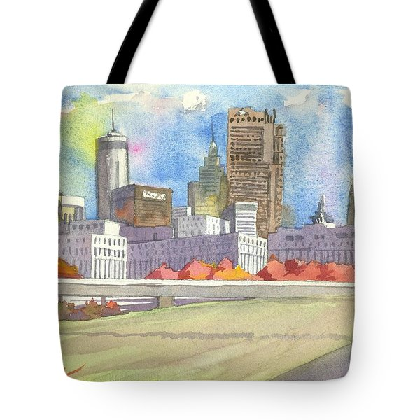 Atlanta Skyline Color Tote Bag