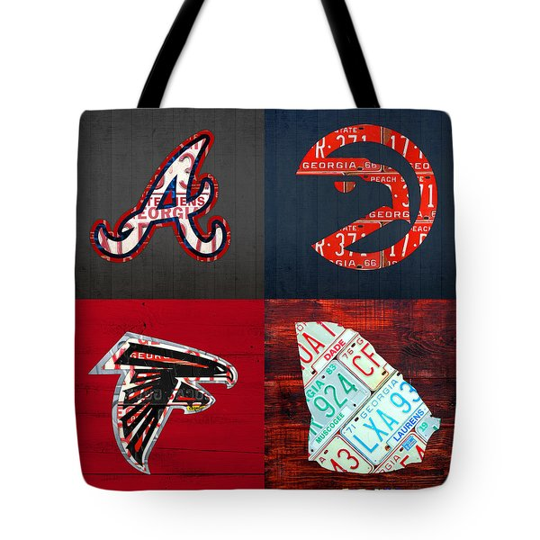 Atlanta Sports Fan Recycled Vintage Georgia License Plate Art Braves Hawks Falcons Plus State Map Tote Bag