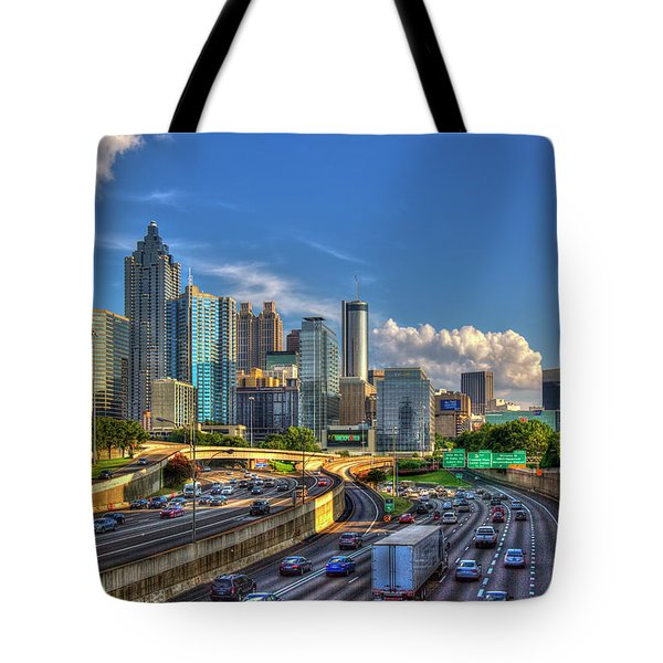 Tote Bag featuring the photograph Atlanta The Capital Of The South Cityscapes Sunset Reflections Art by Reid Callaway