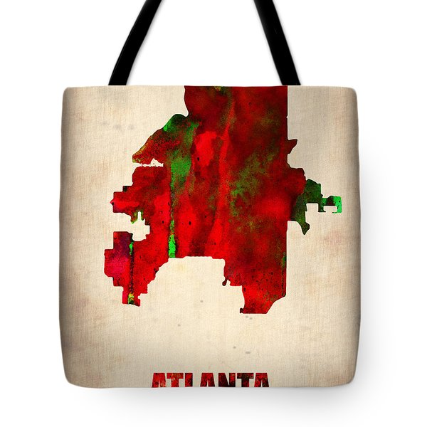 Atlanta Watercolor Map Tote Bag by Naxart Studio