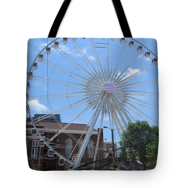 Tote Bag featuring the photograph Atlanta Wheel by Aaron Martens