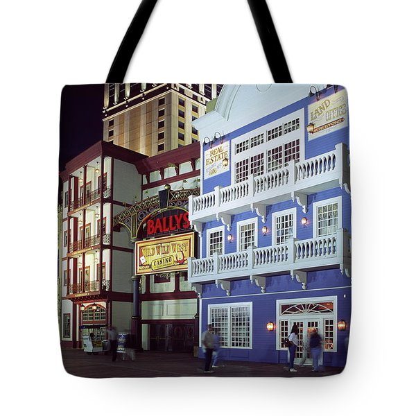 Atlantic City Boardwalk At Night Tote Bag by Sally Weigand