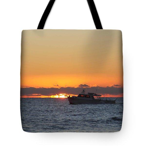 Atlantic Ocean Fishing At Sunrise Tote Bag by Robert Banach