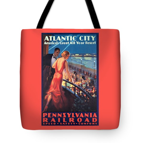 Atlantinc City - America's Great All Year Resort - Vintage Poster Restored Tote Bag
