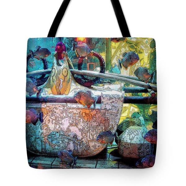 Atlantis Aquarium In Watercolor Tote Bag by DigiArt Diaries by Vicky B Fuller
