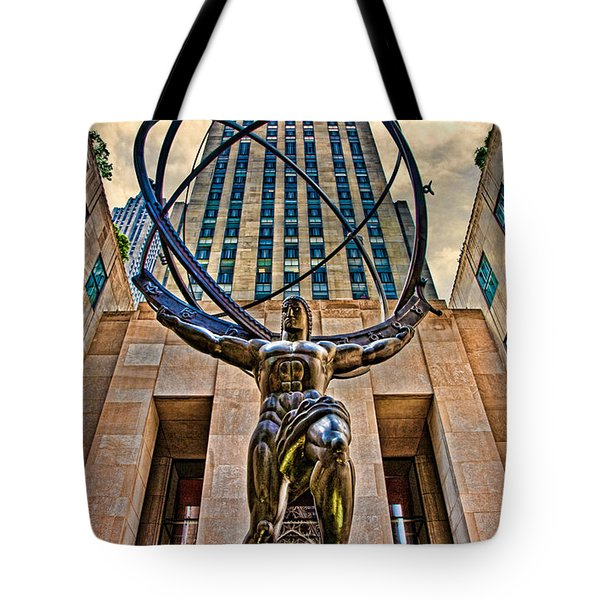Atlas At The Rock Tote Bag