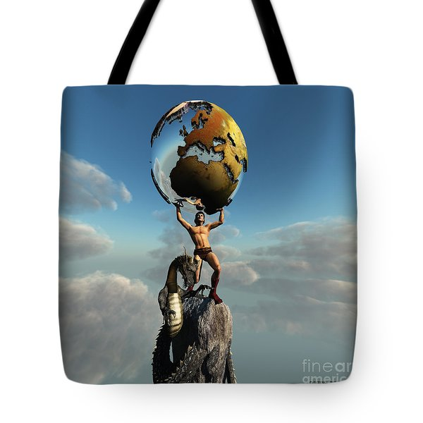 Atlas Greek God Tote Bag by Corey Ford