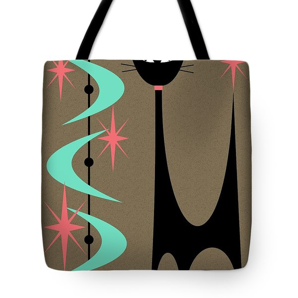 Tote Bag featuring the digital art Atomic Cat Aqua And Pink by Donna Mibus