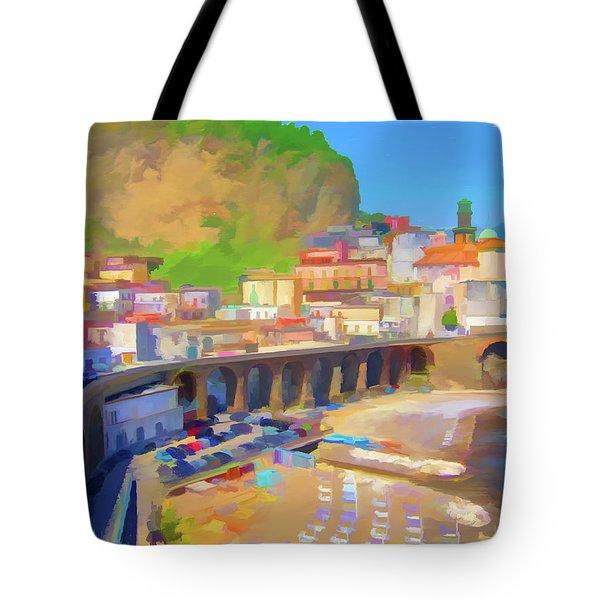 Atrani Italy 01 Tote Bag by Wally Hampton