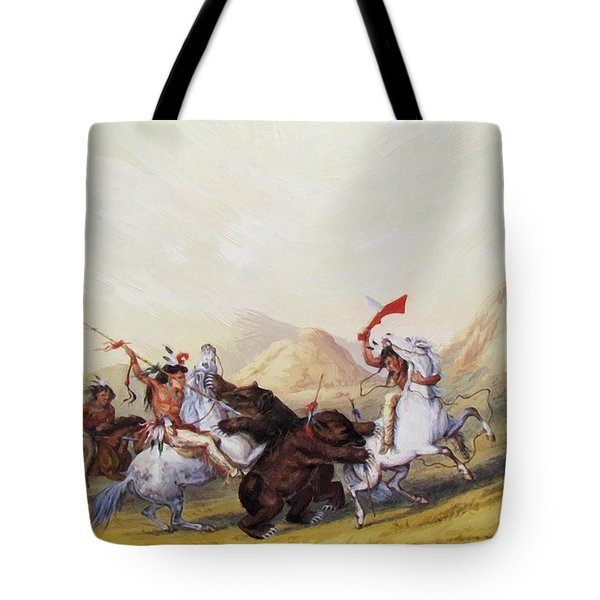 Attacking The Grizzly Bear 1844 Tote Bag